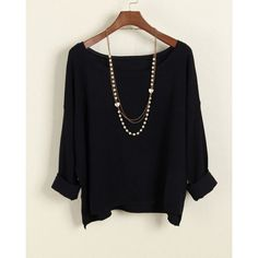 Vintage Scoop Neck Long Sleeves Solid Color Sweater For Women