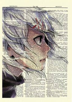 Juuzou Suzuya from Tokyo Ghoul Upcycled Dictionary Art Print Poster