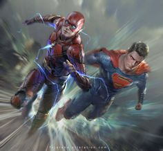 "Superman and The Flash race - Fajareka Setiawan (@fajarekas) on Instagram: ""Who's the fastest? Comment below! I vote for The Flash ⚡⚡⚡ #justiceleague #theflash #flash…"""