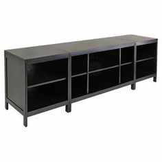"Pairing versatile style with classic appeal, this handsome media console showcases ample open shelving, perfect for stowing electronics and accessories.  Product: Media consoleConstruction Material: Solid and composite woodColor: EspressoFeatures: 10 CompartmentsDimensions: 24.02"" H x 77.98"" W x 18.98"" D (overall)"