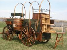 Custom built and used chuck wagon, covered wagon and sheep wagon for sale at Hansen Wheel and Wagon Shop. Horse Wagon, Horse Drawn Wagon, Westerns, Wagons For Sale, Fifth Wheel Trailers, Wooden Wagon, Old Wagons, Chuck Box, Covered Wagon