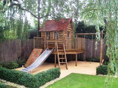 Children play house adventure like the swing, slide and climbing wall