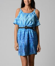 Look what I found on #zulily! Navy & Aqua Ikat Cutout Dress by City Triangles #zulilyfinds