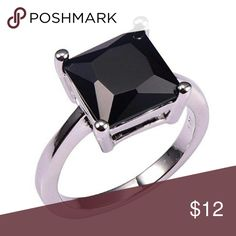 Black onyx and 925 silver ring New on package.  Beautiful square cut black onyx ring. Jewelry Rings