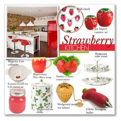 """Strawberry Kitchen"" by alexandrazeres ❤ liked on Polyvore featuring interior, interiors, interior design, home, home decor, interior decorating, Chef'n, Wedgwood, SONOMA Goods for Life and Magenta"