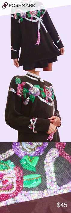💖👑 Dancing Queen 👑💖 Dazzling vintage sequin sweater! No words needed really I mean would you look at that thing!?!?! Grandma's style game ON POINT. Sweaters Crew & Scoop Necks