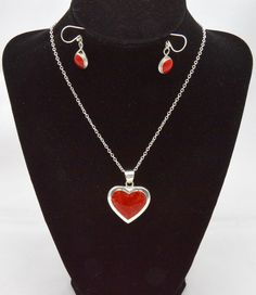 Coral and Sterling Silver Heart Necklace and by grammysattic12, $125.00