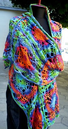 Crochet Colorful Scarf-beautiful....if only I could crochet....and not have carpal tunnel in both hands, so I could make this :)