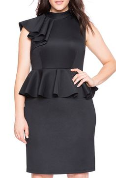 ELOQUII+Ruffle+Shoulder+Peplum+Sheath+Dress+(Plus+Size)+available+at+#Nordstrom