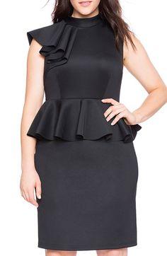 ELOQUII+Ruffle+Shoulder+Peplum+Sheath+Dress+(Plus+Size)+available+at+#Nordstrom