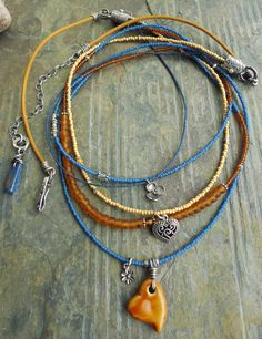 Heart and Flowers Multi Strand Necklace with Amber by lunedesigns