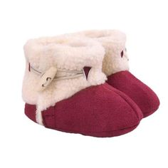 Red Newborn Baby Girl Boy Shoes for Winter Warm Plush Boots Infant Toddler Soft…