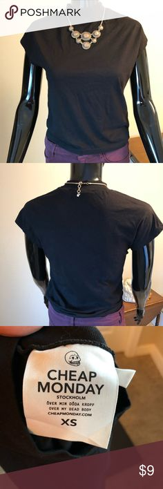 Mock neck Black T-Shirt ⭐️Never worn cute black t-shirt Cheap Monday Tops Tees - Short Sleeve