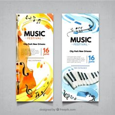 Abstract banners of music festival with violin and piano Free Vector Music Festival Logos, Festival Flyer, Banner Musik, Musikfestival Poster, Adobe Illustrator, Christmas Party Poster, Banner Backdrop, Music Backgrounds, Music School