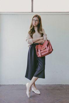 Tricia Gosingtian - Happymallow Top, Apartment 8 Culottes, Proenza Schouler Bag, Sm Parisian Flats - 022616