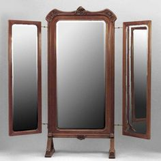 Thinking about doing a diy 3 way mirror off of this ....Art Nouveau Art Nouveau mirror cheval mirror walnut