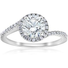 Shop for White Gold 1 TDW Diamond Clarity Enhanced Halo Twist Engagement Ring. Get free delivery On EVERYTHING* Overstock - Your Online Jewelry Destination! Celtic Engagement Rings, Halo Diamond Engagement Ring, Diamond Rings, 14k White Gold Earrings, Silver Ring Designs, Thing 1, Gold Wedding Rings, Moissanite, Champagne