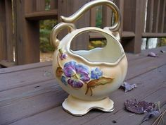 Weller Hudson Style Cameo Basket With Artist Signature and Hand Painted Flowers