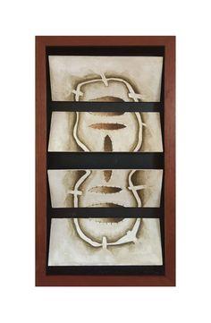 Título: Tablero No. 2 Autor: Alvaro Galindo Vácha Dimensiones: 4 Módulos de 24.5 x 10 cm Técnica: Acrílico sobre cartón Año: 2001 Firmado: Frente
