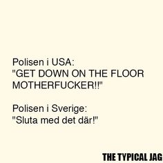 "Hahahahahhhhh. Translate: The police in the USA : ""GET DOWN ON THE FLOOR MOTHERF*CKER!!"" The police in sweden: ""Stop with that!"""