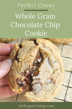 An easy recipe for the best chewy chocolate chip cookies made with whole wheat pastry flour to make them healthy. These are one of my most requested recipes! Vanilla Cookies, Chewy Chocolate Chip Cookies, Almond Cookies, Homemade Desserts, Fun Desserts, Dessert Recipes, Whole Food Recipes, Cookie Recipes, Quick Healthy Snacks