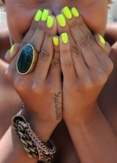 My fav nail color this summer. I am wearing Neon nail polish out!