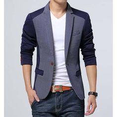 #Blue dot pattern men's cotton #suit single button fastening