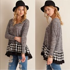 RILEY ruffle plaid sweater top - BLACK Super darling sweater top featuring plaid ruffle detail on hem. Partially see-through. Unlined. Knit. Lightweight. 50%RAYON 50%POLYESTER NO TRADE, PRICE FIRM Bellanblue Tops Tees - Long Sleeve