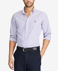 Polo Ralph Lauren Men's Classic Fit Checked Poplin Shirt - Lavender/White XXL