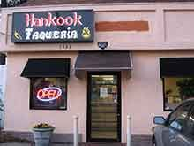 Hankook Taqueria Collier Rd Atlanta - When the food Gods dreamed up a place for  me in Atlanta it was Hankook.A dive a place to be missed - UNLESS you keep your eye peeled as we do. Saw the sign & knew we had to do homework! For starters the sesame fries because they are fun and tasty & everyone loves them.  Then ANY one of the Korean BBQ Tacos (I kid you not) family favorites are the calamari - for burritos...the shrimp. HEY we have a kid! Mine are the fish and the fish. I Love Chef Thomas…
