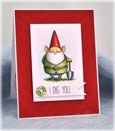 I Dig You! MFT Stamps, Copic Markers, and Spellbinders dies. Love this little guy!