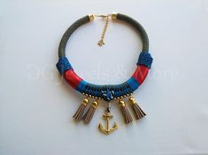 Anchor Navy Rope necklace khaki red gold plated beige tassel