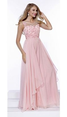 Light Pink Chiffon A-Line Long Gown