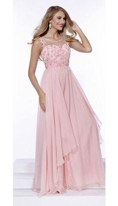 Light Pink Chiffon A-Line Long Gown