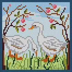 Geese Free Cross Stitch Charts, Cross Stitch Pillow, Cross Stitch Bird, Cross Stitch Flowers, Cross Stitching, Modern Cross Stitch Patterns, Counted Cross Stitch Patterns, Cross Stitch Designs, Cross Stitch Embroidery