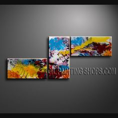 Colorful Modern Abstract Painting Hand Painted Oil Painting Stretched Ready To Hang Abstract. This 3 panels canvas wall art is hand painted by Bo Yi Art Studio, instock - $150. To see more, visit OilPaintingShops.com