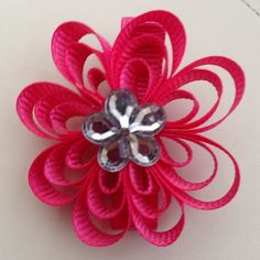 Hot Pink Flower Clip