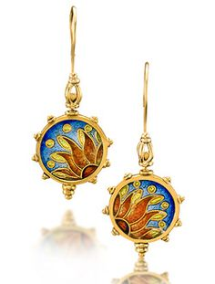 "Cloisonne Earrings ""Pathos""  2.25"" x .75"" x .125""  $3900.00"