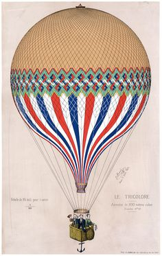 This print shows the French 'Le Tricolore' balloon in the colors of the French flag with three passengers, most probably French Aeronaut Jules Duruof, his wife and another man. The print commemorates
