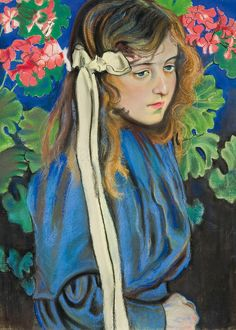 Portrait with Geraniums Stanisław Wyspiański 1904  Wyspianski was a playwright, poet, theatre director, originator of modern Polish theatre and an artist. For a short time he approached Impressionism in his easel paintings, but the characteristic feature of his monumental polychromes and stained glass windows was the decorativeness of synthetics and nabis, strengthened with dramatic expression