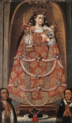 Painting of a Statue of the Virgin of Candlemas Cuzco school, early to century Oil on canvas, Private collection Pintura Colonial, Colonial Art, Spanish Colonial, Hj Story, Southwest Art, Classic Paintings, Red Art, Madonna And Child, Blessed Virgin Mary