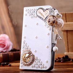 New 3D Bling Crystal Rhinestone Pearl Bow Heart Makeup Mirror PU Leather Flip Wallet Phone Case Cover For Samsung Galaxy S5 Case