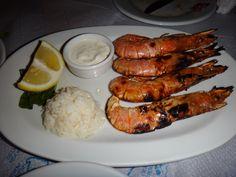 grilled fresh shrimp, head-on