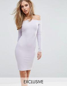 Club L Ribbed Off-the-Shoulder Midi Dress lilac asos