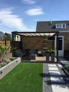 backyard porch ideas on a budget patio makeover outdoor spaces best of i like this open layout like the pergola over the table grill 38 ~ mantulgan.me garden design layout Backyard Patio Designs, Small Backyard Landscaping, Pergola Patio, Pergola Ideas, Modern Backyard Design, Simple Backyard Ideas, Backyard Ideas For Small Yards, Pergola Kits, Landscaping Design