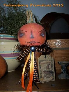Primitive Folk Art Tea and Talk Haunted Halloween Challenge.Created by tallowberryprimitives