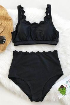 Cupshe Seaside Tank High-waisted Bikini Set #style#swimsuit#womensfashion