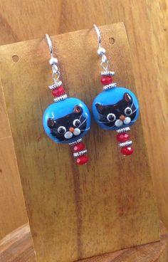 Fourth of July - Handmade Beaded Earrings - MEOW!! by TheWarriorsJewelry on Etsy
