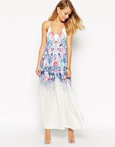 Ginger Fizz Maxi Dress With Ombre Rose Print