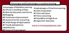explain advantages and disadvantages in machine learning IN PYTHON Library Software, Machine Learning Models, Gps Tracking, Space Time, Interview Questions, Play To Learn, Python, Student, Education
